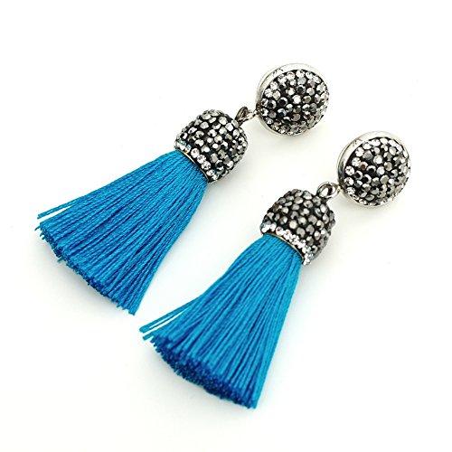 Blue Rhinestone Dangle - Women's Dangle Drop Short Tassel Earrings with Shell Pearl Black Rhinestone Top (Blue 2 with Rhinestone)