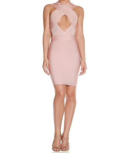 Whoinshop Women's Crossover Open Front Cut-Out Waist Bandage Club Dress