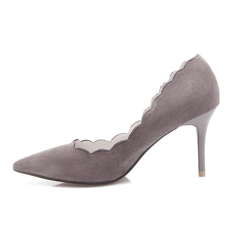 Bbdsj Frauen High Heels Sexy Fashion Heels 8cm Spitzen Fersen Herbst Und Winter Wildleder High Heels Profi damen Schuhe.grau Heels.