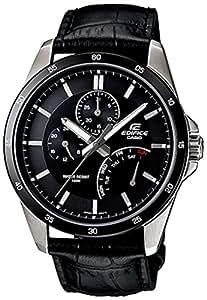 Casio Men's EF341L-1AV Black Leather Quartz Watch with Black Dial