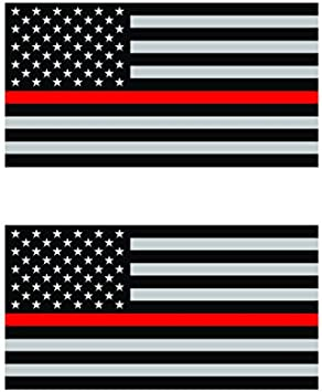 Two Pack Thin Red Line Subdued American Flag/Sticker FA Graphix Vinyl Decal/Firefighter EMT USA US