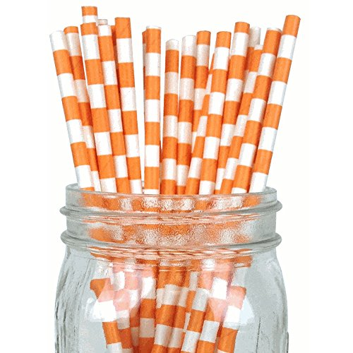 Just Artifacts Decorative Rugby Striped Paper Straws (100pcs, Rugby Striped, Sherbet Orange)