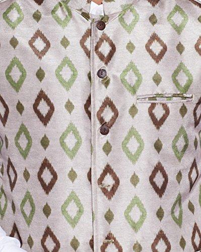 ShalinIndia Hommes numérique Imprimé Soie de faux Veste col Nehru 3 poche avant
