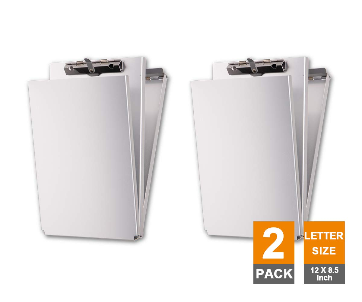 Summit Tools Dual Storage Aluminum Clipboard - 8.5 in. x 12 in. Letter Size Document Holder with Self Locking Latch, Form Clip, 2 Storage Compartment [2-Pack] by Summit Tools (Image #1)