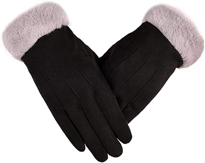 New High Quality Ladies Thick Fleece Warm Full Fur Lining Pom Pom Winter Gloves