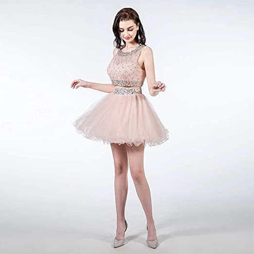 67bde134e030 TANGFUTI Two Piece Homecoming Dresses Short Beaded Tulle Prom Gowns at  Amazon Women's Clothing store: