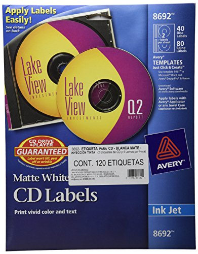 Avery Cd Label - Avery CD Labels, Matte White, 40 Disc Labels and 80 Spine Labels (8692)