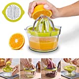 Manual Juicer, 4 in 1 Citrus Lemon Orange Hand Squeezer with Multi-Size Reamers,Ginger Garlic Grater and Measuring Cup