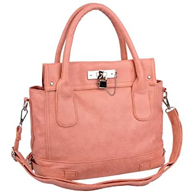 MG Collection CHIONE Pink Ostrich Embossed Padlock Soft Office Tote Handbag