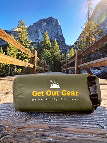 Get Out Gear Down Camping Blanket – Puffy, Packable, Lightweight and Warm | Ideal for Outdoors, Travel, Stadium…