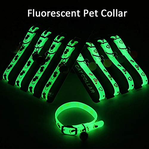 Petlicious & More Cat Kitten Reflective Adjustable Collar Safety Buckle with Bells Cat Radium Adjustable Collar with Bell for Puppy/Kitten (Color May Vary) Pack of Two