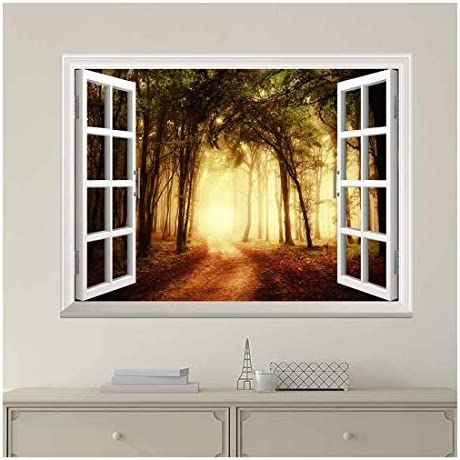 Modern White Window Looking Out Into a Road That Leads to a Bright Forest - Wall Mural, Removable Sticker, Home Decor - 24x32 inches