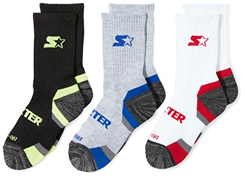 (Starter Boys' 6-Pack Athletic Crew Socks, Amazon Exclusive, Multi, Medium (Shoe Size 4-9.5))