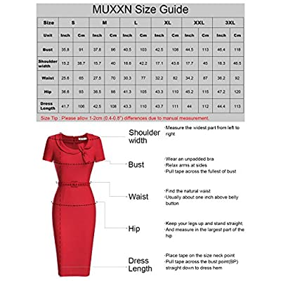 MUXXN Women's Audrey Hepburn Style Short Sleeve Belt Waist Cocktail Tea Dress: Clothing