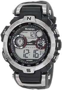 Armitron Men's 408231RDGY Silver-Tone and Black Chronograph Digital Sport Watch