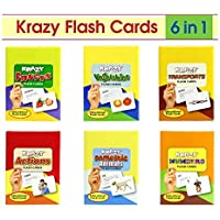 Krazy Domestic Animals, Transports, Vegetables, Fruits, Numbers and Actions Flash Cards (Multicolour) - Set of 6