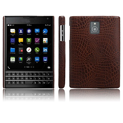 For Cell Phones Case, Luxury Classic Crocodile Skin Pattern [Ultra Slim] PU Leather Anti-scratch PC Protective Hard Case Cover for BlackBerry Passport Q30 (Color : Brown)