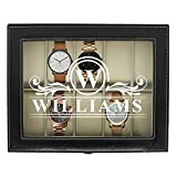 Engraved Watch Box for Men - Personalized Gifts for Him - Custom Husband Boyfriend Gift (Black)