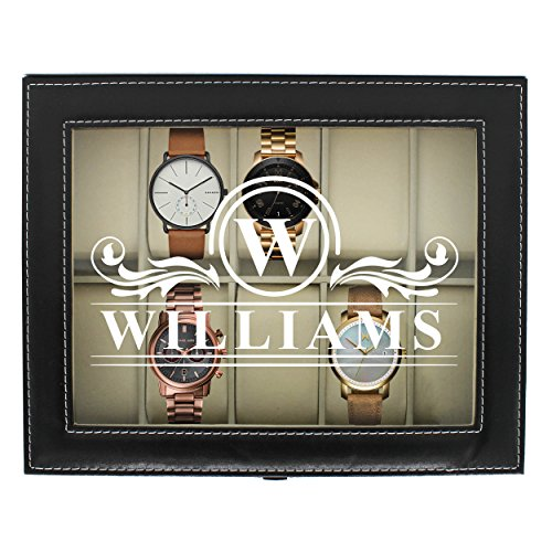 Engraved Watch Box for Men - Personalized Gifts for Him - Custom Husband Boyfriend Gift (Black) ()