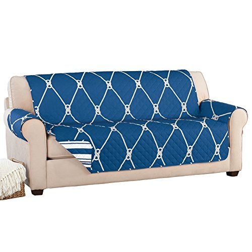 Charmant Reversible Nautical Rope Furniture Cover Protector, Navy, Sofa