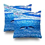 Soopat Decorative Pillows Covers 18''X18'' Set Of 2 Two Sides Printed Whale Tail Off The Coast Of Maui Hawaii Outdoor Pillow Throw Pillow Cases Decorative Home Decor Indoor/Outdoor Nice Gift Kitc
