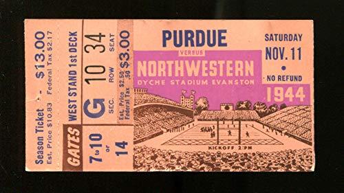 1944 Purdue v Northwestern Football Ticket (Northwestern Purdue Football)