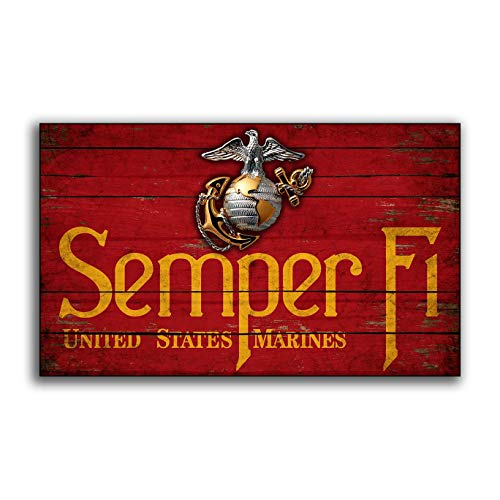 (Adonis554Dan Semper Fi United States Marine Corp Wood Flag Flags Wooden Military USMC Home Wall Decor Printed Sign Decor Sign Wall Signs)