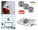 PACK of 3 Starbucks Sticker Decal for Macbook, Laptop ,Car Window, Laptop, Motorcycle, Walls, Mirror and More. MTS012