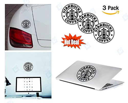 PACK of 3 Starbucks Sticker Decal for Macbook, Laptop ,Car Window, Laptop, Motorcycle, Walls, Mirror and More.