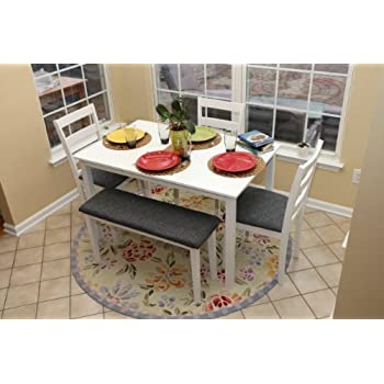 5pc Dining Dinette Table Chairs & Bench Set White Finish 150236