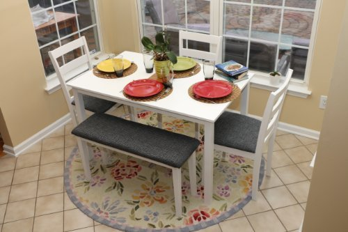 White Dinette Set - 5pc Dining Dinette Table Chairs & Bench Set White Finish 150236