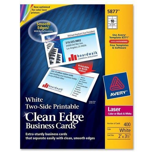 Amazon 5877 avery clean edge business card for laser print amazon 5877 avery clean edge business card for laser print 350 x 2 0 recycled content 400 box white computers accessories reheart Choice Image