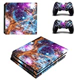 Decal Moments PS4 Pro Console Skin Set Vinyl Decal Sticker for Playstation 4 Pro Console Dualshock 2 Controllers-Galaxy Space(PS4 Pro Only)
