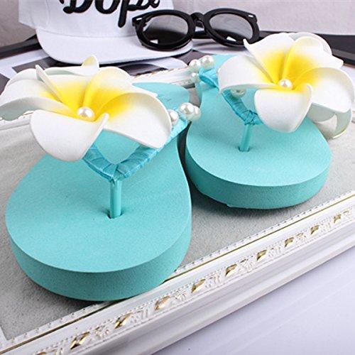 Blue Flower Flip BININBOX Bohemian Flops Beach Pearl Women Faux Slippers w0UqUFzYx