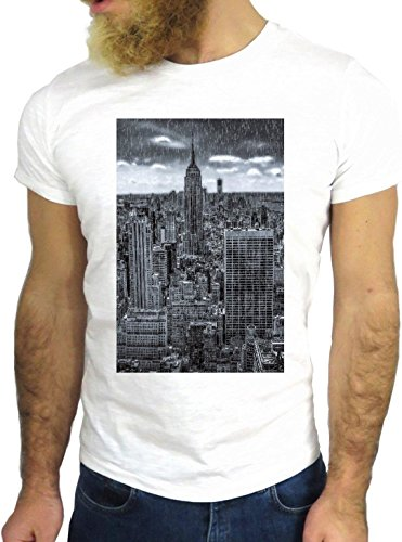 T SHIRT JODE Z1411 SKYLINE NEW YORK CITY AMERICA USA LIFE FUN COOL FASHION NICE GGG24 BIANCA - WHITE XL