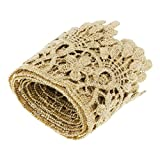 D DOLITY 1 Yard Metallic Embroidery Crown Lace Trim Bridal Wedding Lace Gift Ribbon 51mm Width - Gold