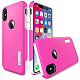 iPhone X Case, TOTU [Scratch Resistant] Slim Dual Layer Drop Protection Shockproof Enhanced Grip Case Fit for Apple iPhone X / 10 2017 Hybrid Hard PC Back Cover + Soft TPU inner - Pink/White