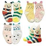 6pairs 12-24 Month Baby Ankle Socks Non Skid Cotton Anti Slip Stripes Crew Socks