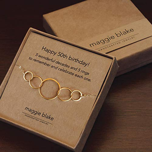 50th Birthday Gifts for Women, five circle necklace for her 5 decade jewelry 50 years - Gift Five