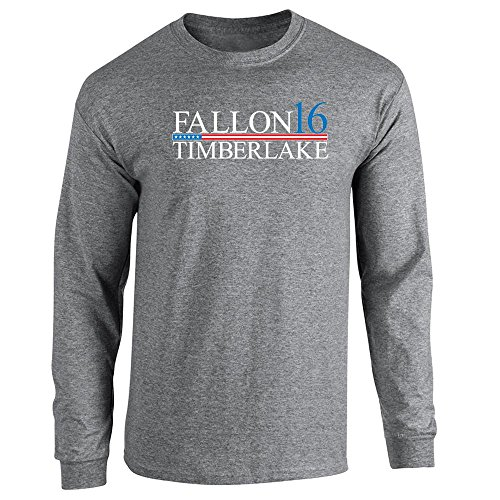Pop Threads Fallon Timberlake 2016 Presidential Election Funny Graphite Heather XL Long Sleeve T-Shirt