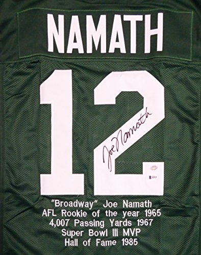NEW YORK JETS JOE NAMATH AUTOGRAPHED GREEN JERSEY SEWN IN STATS BECKETT BAS STOCK #114975 ()