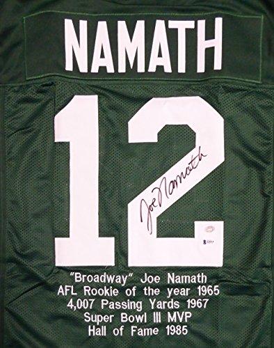 New York Jets Joe Namath Autographed Green Jersey Sewn In Stats Beckett BAS Stock #114975