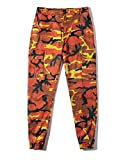 ZLSLZ Unisex Mens Womens Hip Hop Camo Cargo Joggers Pants With Pockets Orange W30