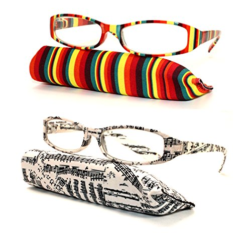 (#MPD23 2PK #1 #2) Transparent Colorful Bright Design Print Painting Art Reading Glasses Readers Unisex Womens (Strength: - Clip Art Sunglasses