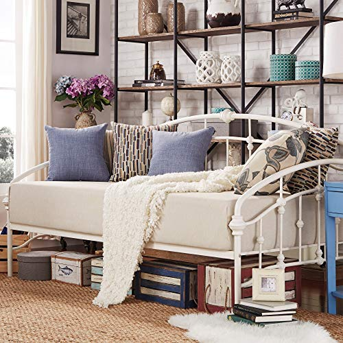 Inspire Q Lacey Round Curved Double Top Arcs Victorian Iron Metal Daybed by Classic Antique White Antique ()