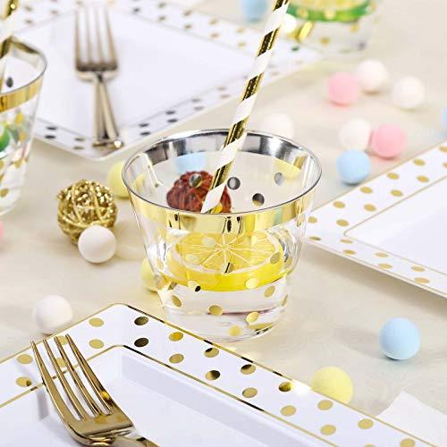 (Tableclothsfactory 12 Pack 9oz Gold Rim Polka Dots Plastic Disposable Tumblers )