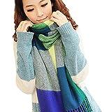 Yidarton Lady Winter Warm Plaid Blanket Scarf Big Tartan Long Check Neck Wrap Shawl Blue Green