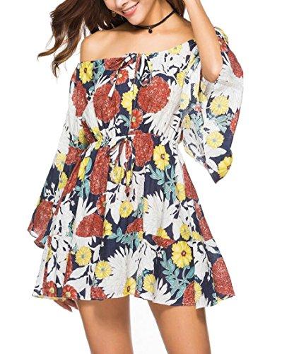 Women's Strapless Print Beach Dress Summer Floral Shoulder 5 Off Sexy Jaycargogo TqwHd4T