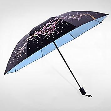 Sasan Buenos días, señoras y antílope de doble finalidad de plástico negro UV sol paraguas