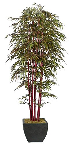 Laura Ashley 8 Foot Tall High End Silk Realistic Bamboo Tree with Decorative Planter - 8' Tall Base